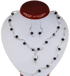 BIŻUTERIA ŚLUBNA KOMPLET ŚLUBNY wieczorowy posrebrzany kryształki czarny  KP239 Beaded Necklace, Jewelry, Beaded Collar, Jewlery, Pearl Necklace, Jewels, Beaded Necklaces, Jewerly, Jewelery