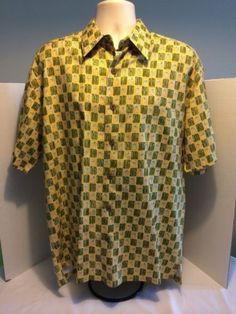 Kahala-Hawaiian-Shirt-Large-Silk-Olive-Yellow-Checkered-Blue-Martini-Cherry-EUC
