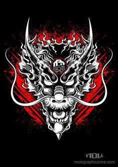 Would be a cool tet Japanese Mask, Japanese Warrior, Japanese Tattoo Art, Dragon Wallpaper Iphone, Samurai Artwork, Dragon Artwork, Flash Art, Dragon Ball, Vector Art