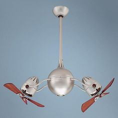 "39"" Acqua Brushed Nickel Dual Head Rotational Ceiling Fan - #H8459 