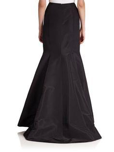 Carolina Herrera Night Collection Silk Faille Long Trumpet Skirt in Black