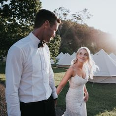 Bridie + Matts stunning Jervis Bay Glamping Wedding // Bridie wore the 'Anya' gown from the KWH by Karen Willis Holmes collection.  Photographer – @Jasoncorroto // Florist – Erica Anderson Florals.