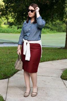 Polka dot chambray and red skirt