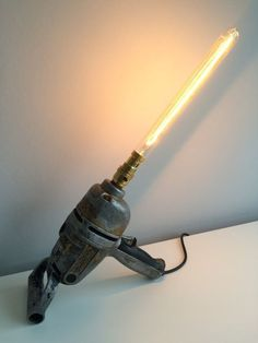 Vintage Industrial Drill Desk Lamp Upcycled steampunk by Pastglow