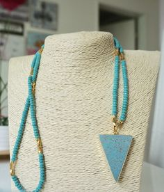 Beaded Long Turquoise Necklace with gold plating details-SALE! Turquoise Necklace, Plating, Chokers, Gems, Jewels, Detail, Gemstones, Jewerly, Jewlery