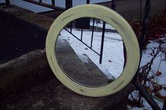 Yellow Mirror, Rustic Round Wooden wall mirror hand painted pale yellow, Shabby cottage bedroom bathroom Mirror, Nursery decor by UpcycledCottageDecor on Etsy