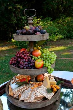13 great healthy wedding cake alternatives - Wine and Cheese - Mariage Party Platters, Cheese Platters, Cheese Table, Party Buffet, Cheese And Cracker Tray, Party Trays, Food Platters, Wein Parties, Raw Vegan Cake