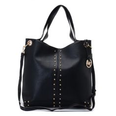 "Michael Kors Uptown Astor Large Shoulder Tote Black Leather Products Description * Black leather. * Golden hardware. * Top handles. * Shoulder strap with rings and chain detail. * Snap closure. * Hanging logo charm. * Stud detail on front and sides. * 12""H x 16""W x 3""D."