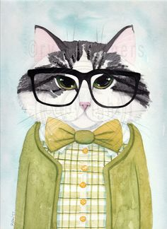 Joaquin the Hipster Cat Original Folk Art Watercolor Painting by KilkennyCat Art, $55.25 USD Copyright © Ryan Conners