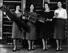 """Betty Jean Jennings Bartik, Kathleen McNulty Mauchly Antonelli, Ruth Lichterman Teitelbaum, Frances Bilas Spence, Marlyn Wescoff Meltzer, and Betty Snyder Holberton--Working double and triple shifts six days a week, this ragtag crew of six female """"computers"""" (which was a job title back then) lugged cables and trays between panels on the massive machine."""