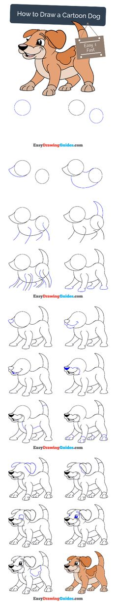 Dog Drawing Simple, Drawing For Kids, Art For Kids, Drawing Ideas, Easy Cartoon Drawings, Easy Drawings, Animal Drawings, Dog Drawing Tutorial, Drawing Tutorials For Beginners