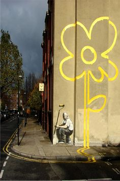 Yellow Lines Flower Painter, Banksy