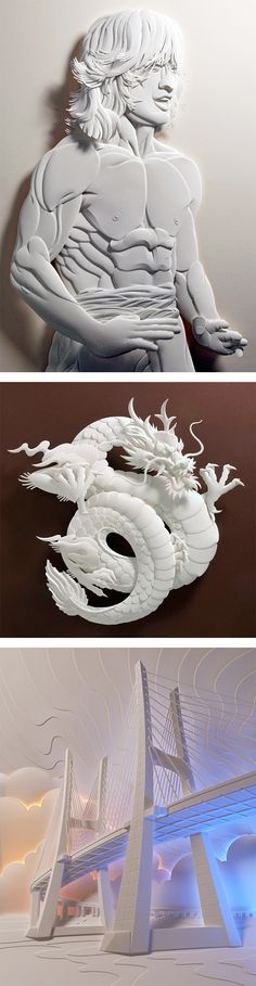 More paper sculpture art by Jeff Nishinaka