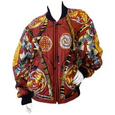 Iconic 1980s Hermes Reversible Daimyo Japanese Bomber | From a collection of rare vintage coats and outerwear at https://www.1stdibs.com/fashion/clothing/coats-outerwear/