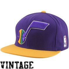 Mitchell & Ness Utah Jazz Two Tone Snapback Hat - Purple/Gold Color