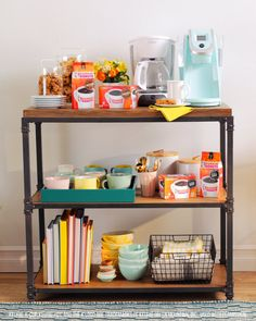 This DIY coffee bar uses a cart or shelves to organize your essentials. All you need is a small space, a few mugs, and a good brew of coffee. #sponsored #DunkinAtHome