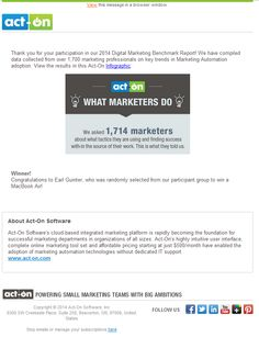 """Act-On Software email about their """"Digital Marketing Benchmark Report"""".   Subject Line: 2014 Digital Marketing Benchmark Report - The Results are In!"""
