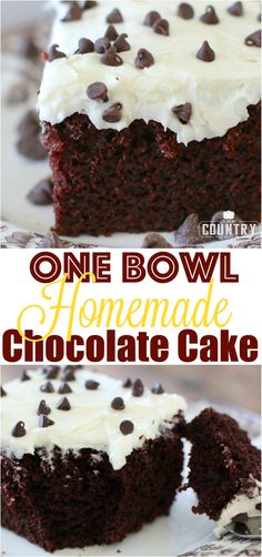 One Bowl Homemade Chocolate Cake and Creamy Frosting recipe from The Country Cook. The best chocolate cake ever! So moist!