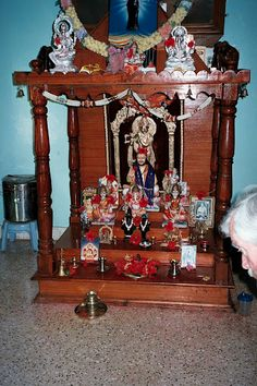 Hindu altar in a home - the sacred space, like divinity itself,  is at home not just in a temple, church or mosque,
