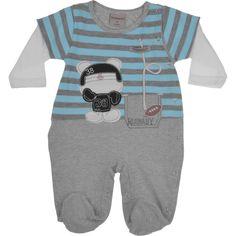 Macacão Bebê Listrado Cinza Mescla e Azul em Malha com Bordado Urso Travessu's