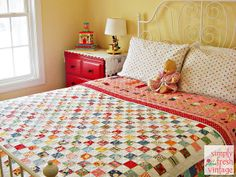 Postage Stamp Quilt by Simply Fresh Vintage, via Flickr