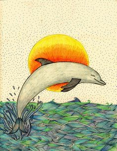 Delfin Painting, Dolphins, Expressionism, Dibujo, Animales, Illustrations, Painting Art, Paintings, Painted Canvas