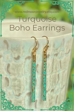 Put them on and forget them...except for all the compliments you get! Lightweight turquoise-patina bar earrings for that Boho side in you ⭐ Custom Jewelry, Handmade Jewelry, Handmade Crafts, Boho Bar, Platinum Jewelry, Moon Jewelry, Delicate Jewelry, Bar Earrings, Gold Texture