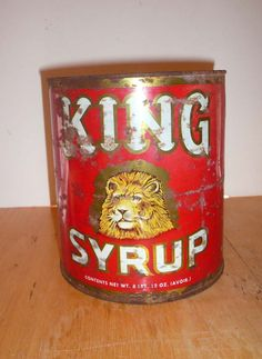 Vintage King Syrup Lithograph Can by vintagereinvented on Etsy,