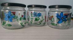 Borcane pictate cu flori potrivite pentru pastrarea condimentelor, zaharului, bomboanelor, etc... :)