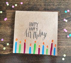 Square handmade calligraphy happy happy birthday by PleasantAvenue