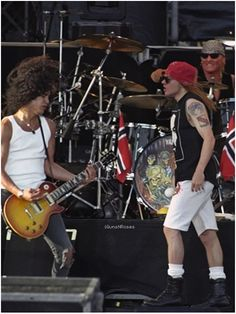 """""""Slash, Axl Rose and Matt Sorum (Guns N' Roses) during soundcheck on the Use Your Illusion World Tour (January 20, 1991 to July 17, 1993)."""""""