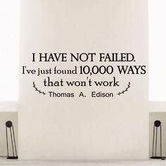 Thomas A. Edison Quote Vinyl Sticker Wall Art
