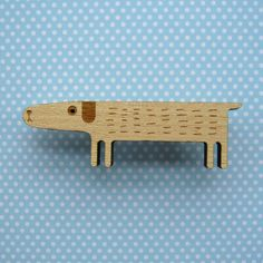 Wooden Dog Brooch.