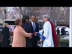 Raw: Obamas, Bidens Arrive for Church 1/21/13