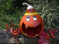 Items similar to Halloween Decoration Gourd Jack o Lantern Painted Gourd Pumpkin Candy Corn Treat Bowl Gourd Art on Etsy