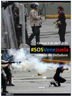 A lone protester confronts Bolivarian National Police (GNP) to prevent them from firing a shot gun blast of pellets but receives a face full of pepper spray however she does not flee