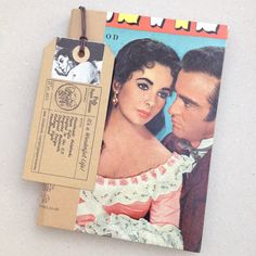 ELIZABETH TAYLOR NOTEBOOK - Hand bound with re-used vintage print by PulpPaperHeaven on Etsy