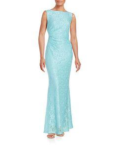<ul><li>Elegant gown featuring a charming cowl…