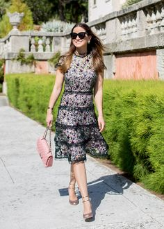 Jennifer Lake Style Charade in an Alexis Peony sequin dress, pink Chanel caviar flap bag, Kate Spade Baneera heels at Vizcaya Gardens Miami