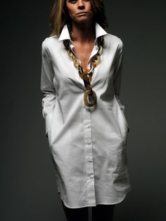 The Button-Down Shirtdress, statement necklace..LOVEEE!