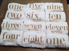 These adorable onesies make a perfect baby shower gift or can be used to capture your babys first year! Sized according to age --> let me know if you need different size variations Available as a single onesie (specify month in the Notes to Seller box when purchasing) *OR* as a