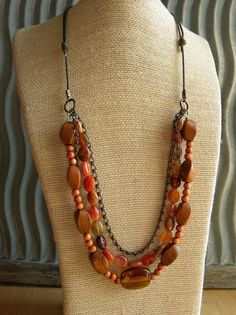 Layered Beaded and Chain Necklace multi strand wood by emmsgems, $35.00