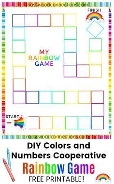 Rainbows, colors, & cooperation. A DIY cooperative color game. Kids learn about colors & numbers as they try to save the rainbow. Printable version.