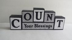 Wood Block Sign Count Your Blessings  Gray by ForeverYoursCreation