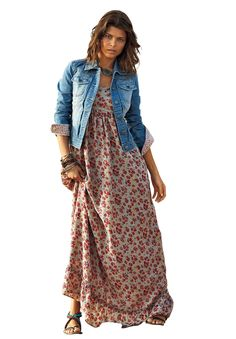 Printed Maxi Dress by La Redoute® | Plus Size Maxi Dresses | Roamans this does not come with jacket would need and undershirt and we would need to hem the skirt. $53.99