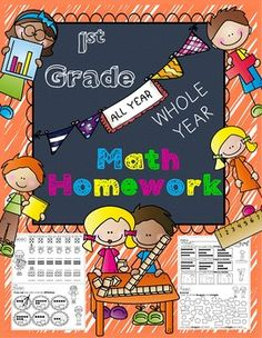This MATH HOMEWORK BUNDLE for 1st Grade is a great weekly homework packet that will review all common core strands on a weekly basis. It gets progressively more challenging throughout the year, and it incorporates every skill that a 1st grader should learn.It is very kid-friendly, easy to read, examples are given for most problems, and it's packed with real work...not just time-wasting work.