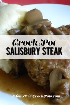 This is a delicious comfort staple at my house. When you think of a warm, filling, homemade dinn . Super simple dinner idea for those busy days. Try this Crockpot Salisbury Steak Recipe tonight! Crockpot Dishes, Crock Pot Slow Cooker, Crock Pot Cooking, Beef Dishes, Slow Cooker Recipes, Crockpot Recipes, Cooking Recipes, Dinner Crockpot, Hamburger Recipes