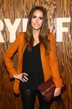 louise roe 10. black leather pants, cognac jacket