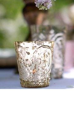 "SET OF 12, 3"" Mercury Glass Fleur De Lis Candle Holder Embossed Silver Champagne #davidtutera"