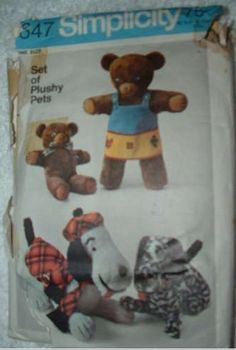 VINTAGE SIMPLICITY PATTERN #9647 TEDDY BEAR AND DOG